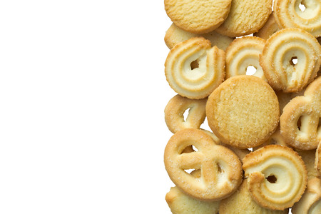 Isolated danish cookies on white background