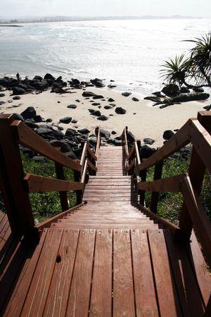 coolangatta: a beach entrance to coolangatta beach on the cold coast,queensland australia Stock Photo