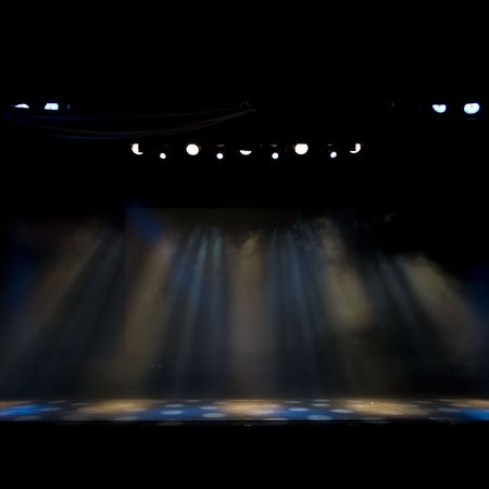 empty stage: sttheatre stage lights on an empty age, lighting colors easy to edit Stock Photo
