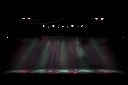 empty stage: theatre stage lights on an empty stage, lighting colors easy to edit Stock Photo