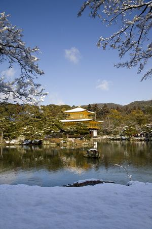 golden temple in the snow,  kyoto japan Stock Photo - 6548054