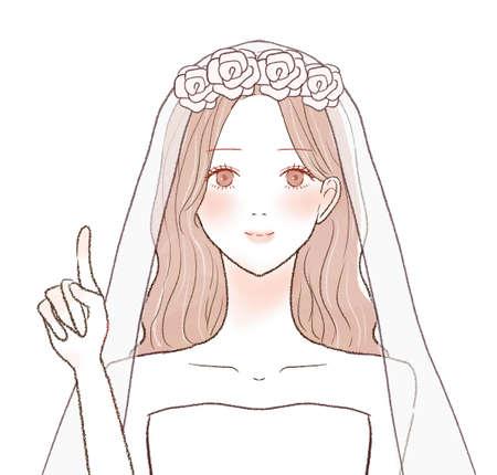 The bride explaining while pointing her finger. On a white background. Vektorové ilustrace