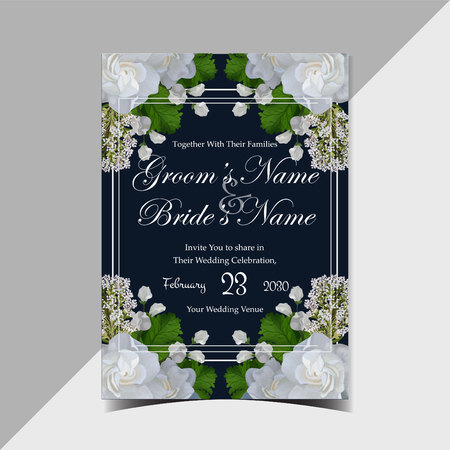 Vintage rustic navy floral wedding invitation with gorgeous realistic white roses and green leaves