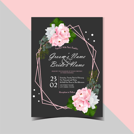 Black Vintage Floral Wedding Invitation card with Beautiful Realistic Pink Peony and diamond line shape. Иллюстрация
