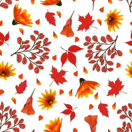seamless floral pattern with autumn flowers