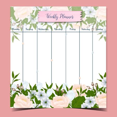 student weekly planner with gorgeous white flowers Vectores