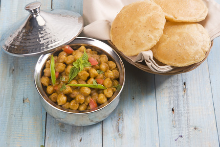 chaat: Chana Masala with Puri or Spicy Chickpeas with Puri, Indian Food