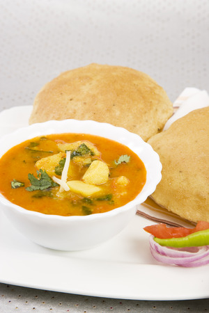 chaat: Potato Masala Curry with Pickle, Indian Food
