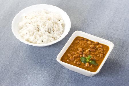 rajma: Rice   Red kidney beans or Rajma, Indian Dish Stock Photo