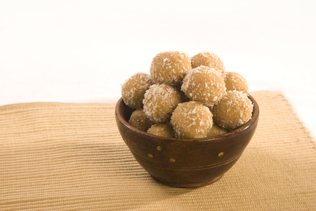 Indian sweets dryfruit and cocnut ladoo Stock Photo
