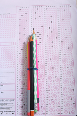 Picture of pencil bundle on the OMR sheet. Stock Photo