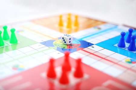 Picture of ludo game on the table. Stock Photo