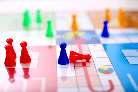 Picture of ludo board family game on the table. Stock Photo
