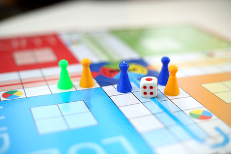 Ludo board family game on the table. Stock Photo
