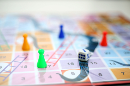 Picture of snakes and Ladders Board Game. Stock Photo