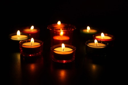 Beautiful candle Light at Diwali Festival. Stock Photo