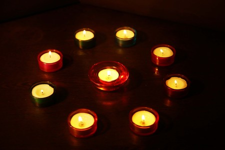 Picture of candle Light at Diwali Festival.