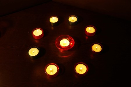 A group of decorative candle during Diwali festival.
