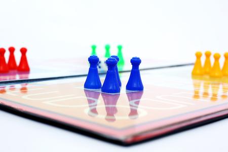 Portrait of ludo board family game. Stock Photo
