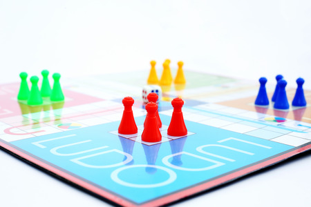 Picture of family ludo game.