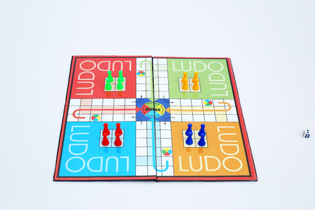 Picture of ludo board family game.