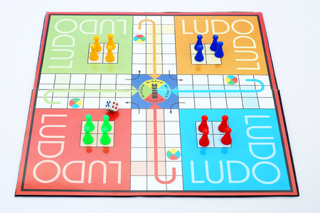 Picture of ludo family game.