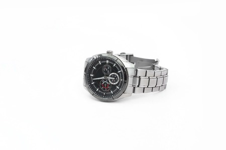 Portrait of unique wrist watch. Isolated on the white background. Stock Photo