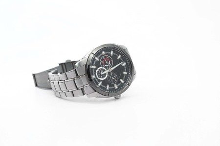 Portrait of mens wrist watch. Isolated on the white background.