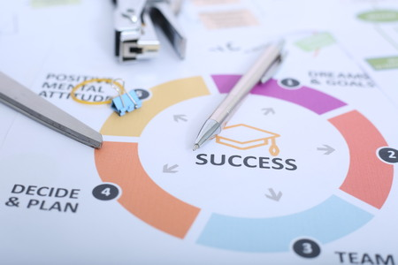 Portrait of pen and paper clip on the success chart paper.