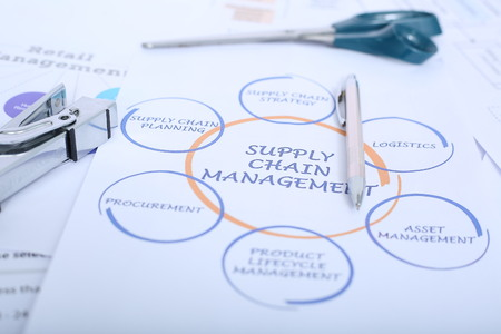 Picture of pen, stapler and scissor on the supply chain management chart. Banco de Imagens - 117207225