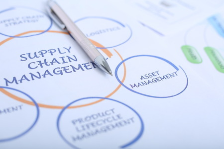 Picture of pen on the supply chain management chart. Stock Photo