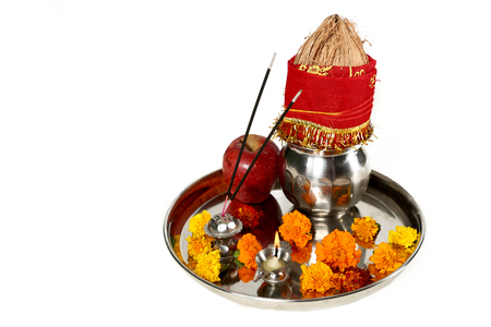 Portrait of ready navratri pooja thali. ISolated on the white background. Stock Photo