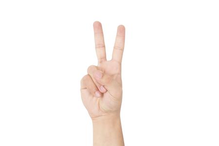 Geste de la main et collection de signes. Isolé sur le fond blanc