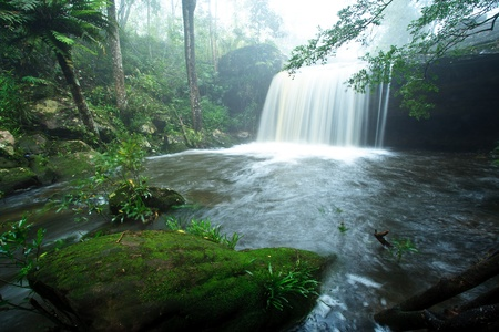 brooks: The waterall in forest on rainy season. Stock Photo