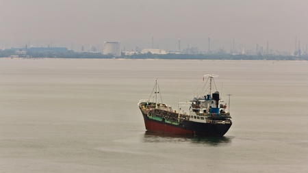 Shiping on the sea by ship in estate colony photo
