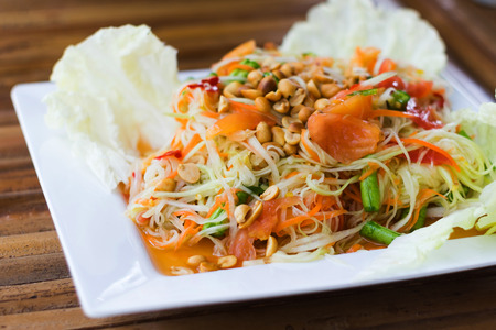 thai salad is spicy food is call papaya pok pok photo