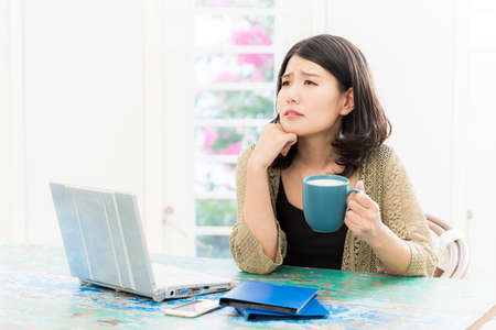 A Japanese woman who suffers from a work place with a personal computer