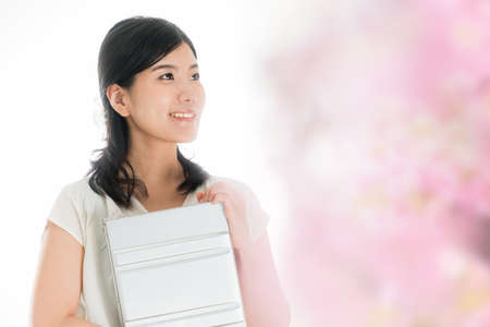 Woman with laptop Image of spring