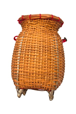 Basket from bamboo on white background photo