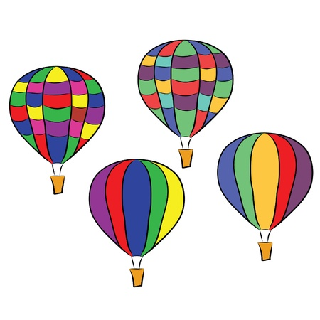 colorful hot air balloons  Ilustrace