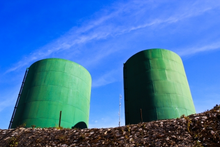 water treatment tanks on waste water treatment plant  photo