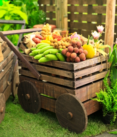 Wooden carriage with fruits