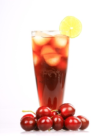 Cocktail Rum-cola with ice and lemon with cherry isolated on white background