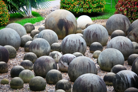water stained: Round rock garden, circle stone garden, Pattaya Thialand Stock Photo