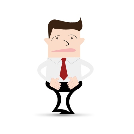 colic: business man suffering from stomach ache Illustration