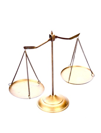 lawfulness: golden brass scales of justice on white