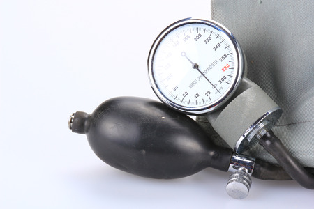 Medical sphygmomanometer on a white background Stock Photo - 22396343