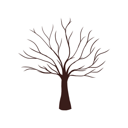 트렁크스: 잎 벡터 일러스트 레이 션없이 죽은 나무 일러스트