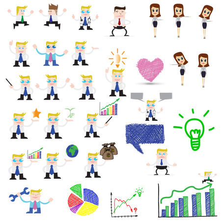 Businessman and woman Icons  Vector illustration   Vector