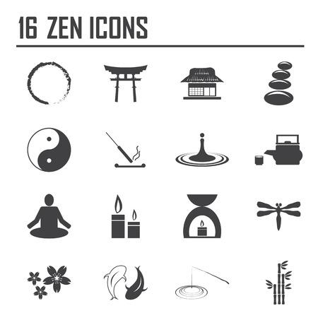 japanese tea garden: zen icons, mono vector symbols